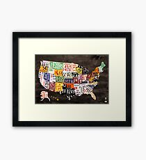 License Plate Map of the United States of America - Warm Colors / Black Edition Framed Print