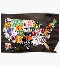 License Plate Map of the United States of America - Warm Colors / Black Edition Poster