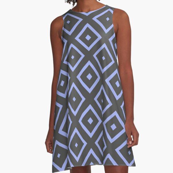 Blue And Grey Diamonds A-Line Dress