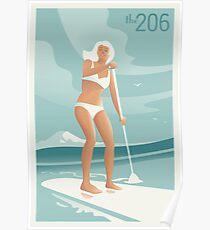 Paddleboarding Lake Washington Poster