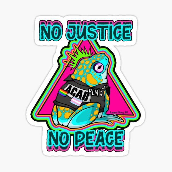No Justice No Peace Punk Frog Sticker