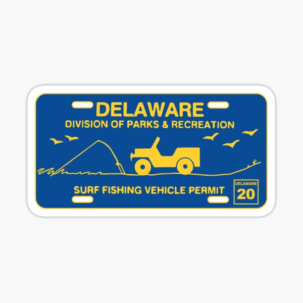 Delaware Surf Fishing Vehicle Permit (Blue & Yellow) Sticker