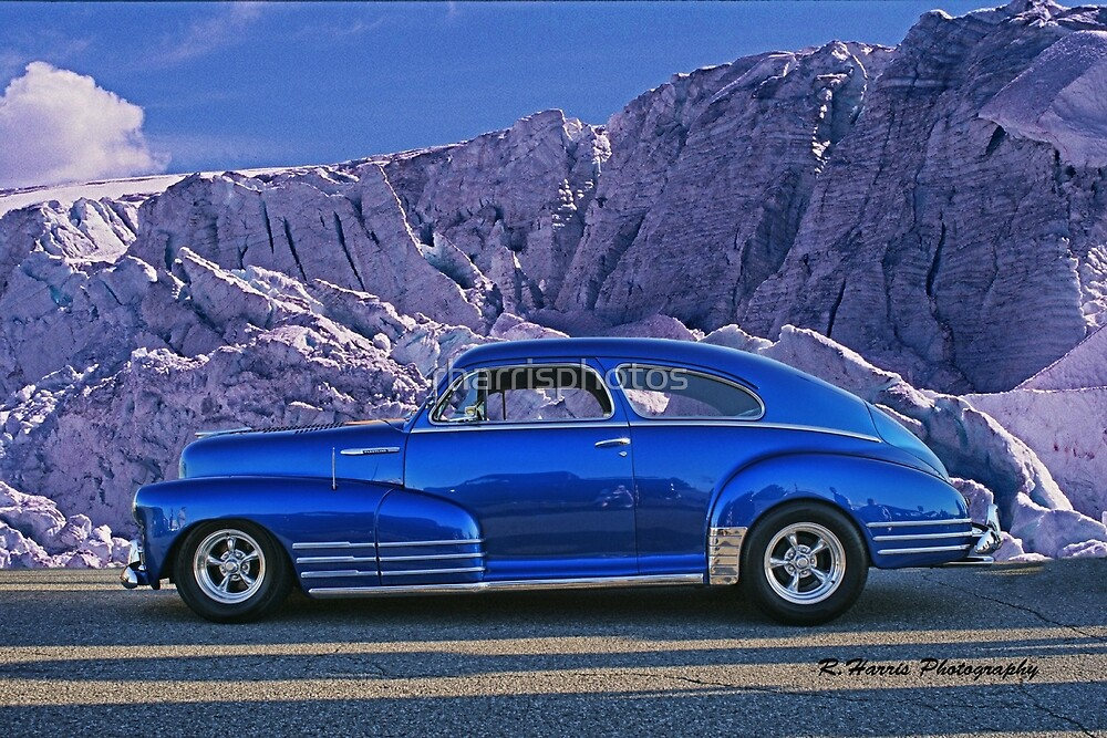 Custom Blue Street Rod at the Glacier in Whistler by rharrisphotos