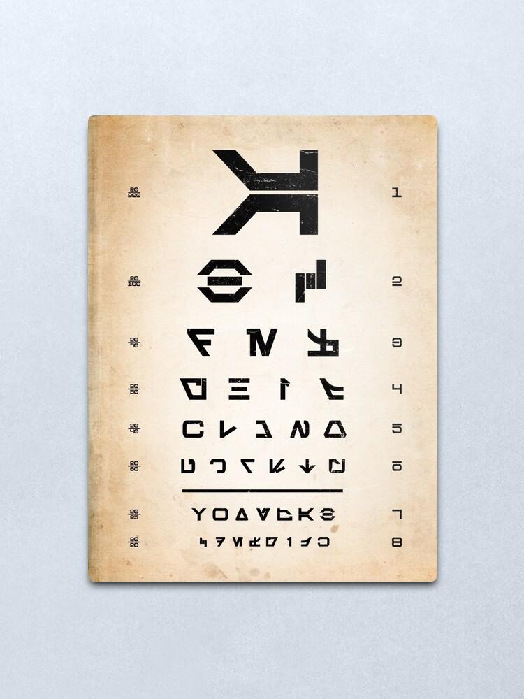 Alternate view of Aurebesh Eye Chart Metal Print
