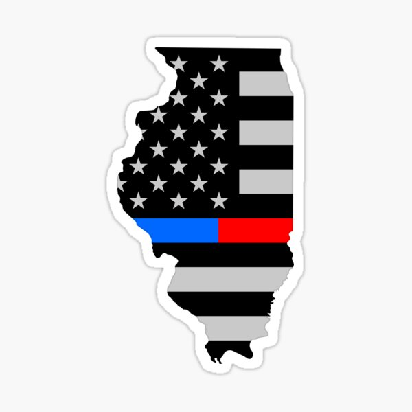 Illinois IL — Police Law Enforcement / Thin Blue Red Line / USA Flag Sticker