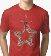 Silver Bells Christmas Star Decoration Tri-blend T-Shirt