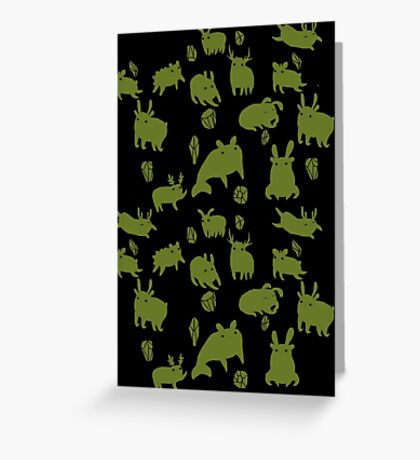 Weebeasts (olive and light green) Greeting Card