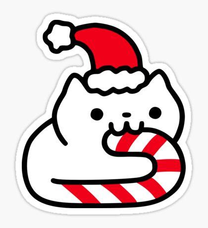 Candy Cane Cat Glossy Sticker