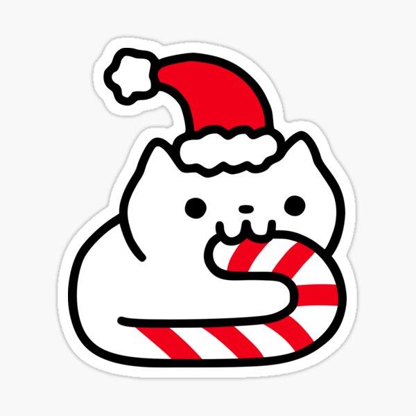Candy Cane Cat Sticker