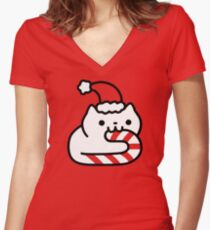Candy Cane Cat Women's Fitted V-Neck T-Shirt