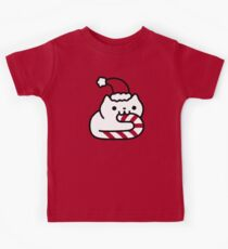 Candy Cane Cat Kids Tee