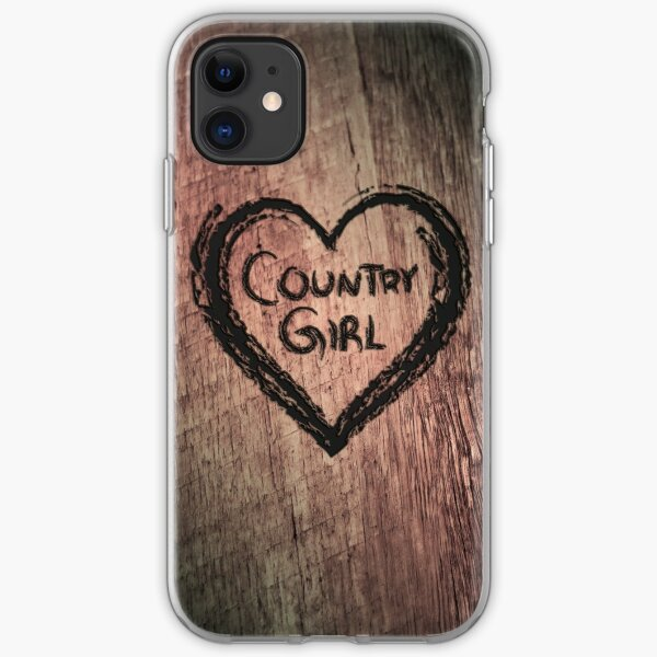 Country Girl Heart etched out of tree iPhone Soft Case