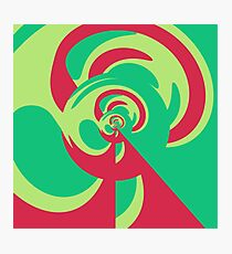 Nouveau Retro Graphic Green and Red Photographic Print