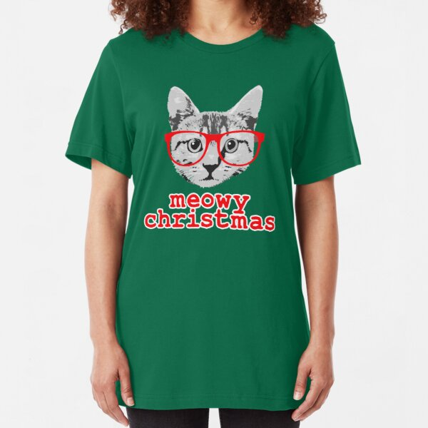 Funny Christmas - Meowy Christmas Slim Fit T-Shirt
