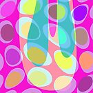 Nouveau Retro Graphic in Pink Blue and Yellow by Anthony Ross