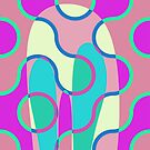 Nouveau Retro Graphic In Brown Pink and Blue by Anthony Ross