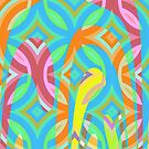 Nouveau Retro Graphic Blue Pink and Yellow by Anthony Ross