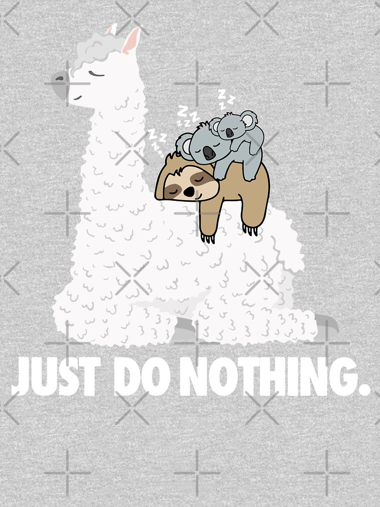 Just Do Nothing - Lazy sleeping Koala Mama And baby Koala Riding Llama Alpaca Fathers Day Gift by khaledokov