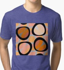 Nouveau Retro Graphic Orange Brown and Peach Tri-blend T-Shirt