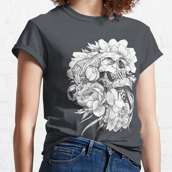 Skull lady with peonies Classic T-Shirt