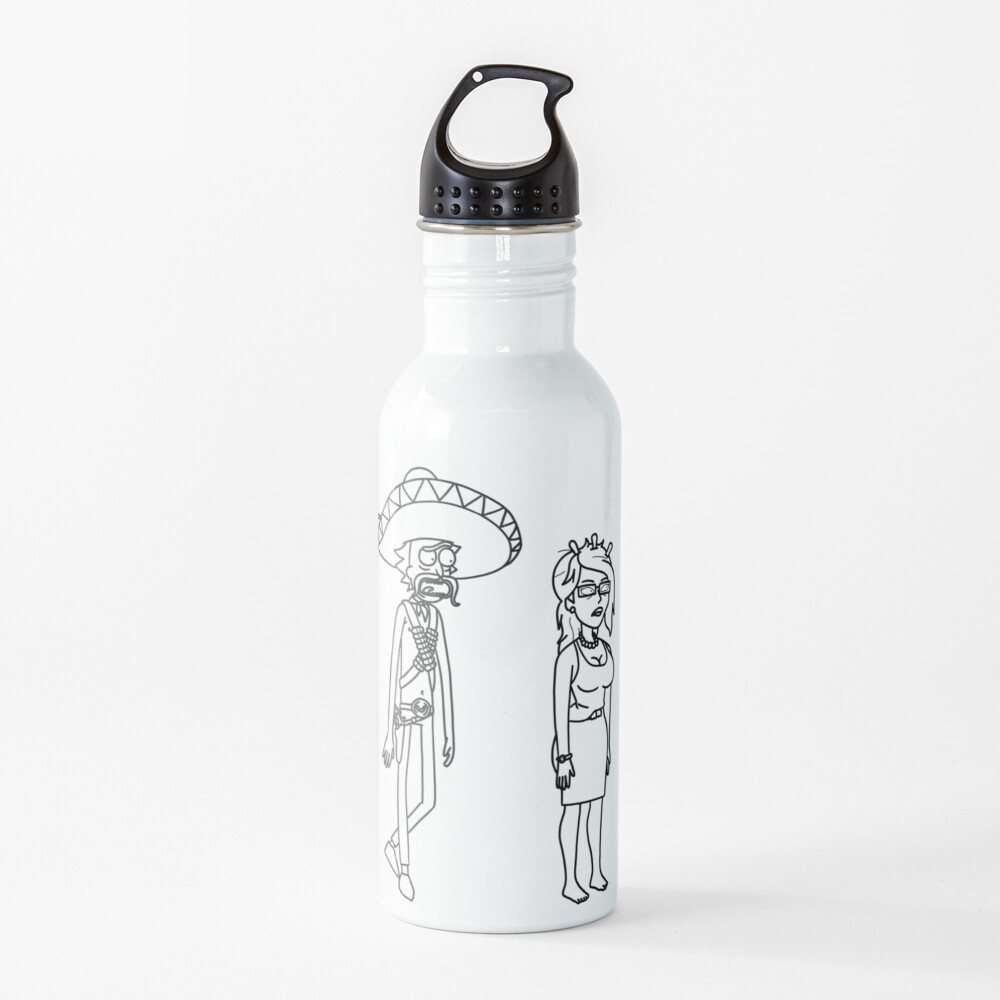 Rick Sanchez Sombrero Mustache and Unity | Rick and Morty character Water Bottle