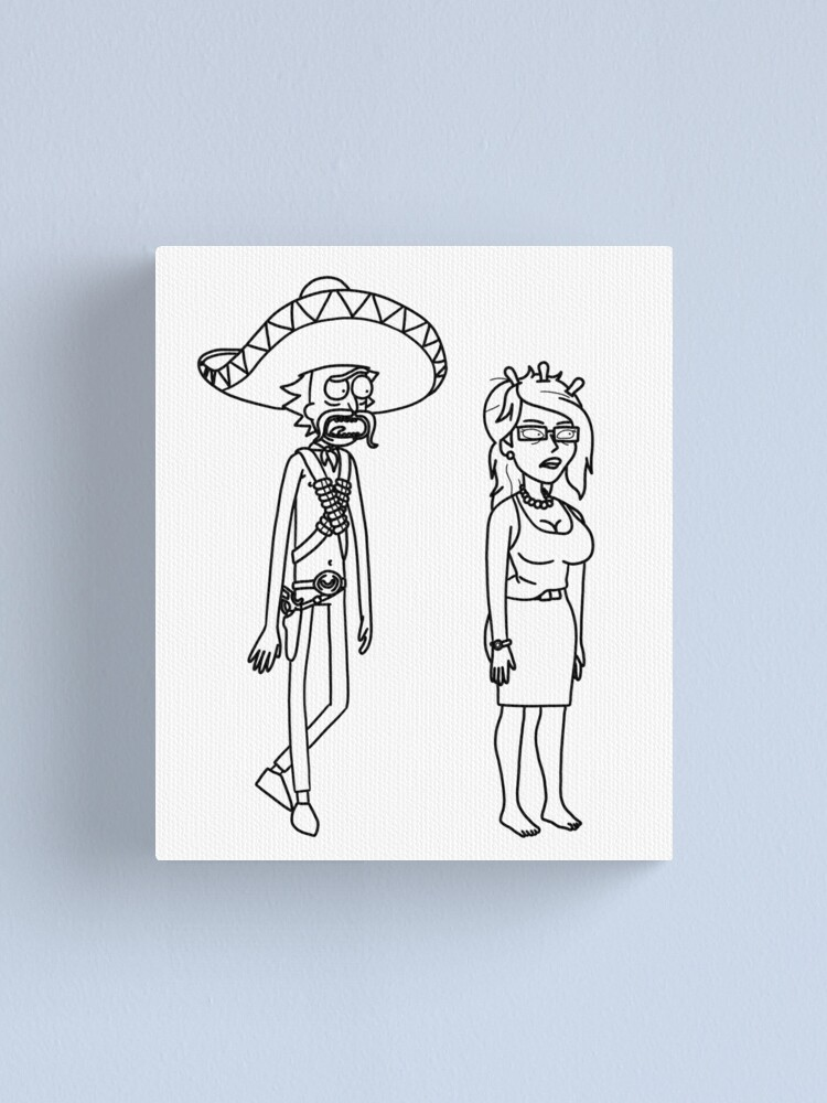 Alternate view of Rick Sanchez Sombrero Mustache and Unity   Rick and Morty character Canvas Print