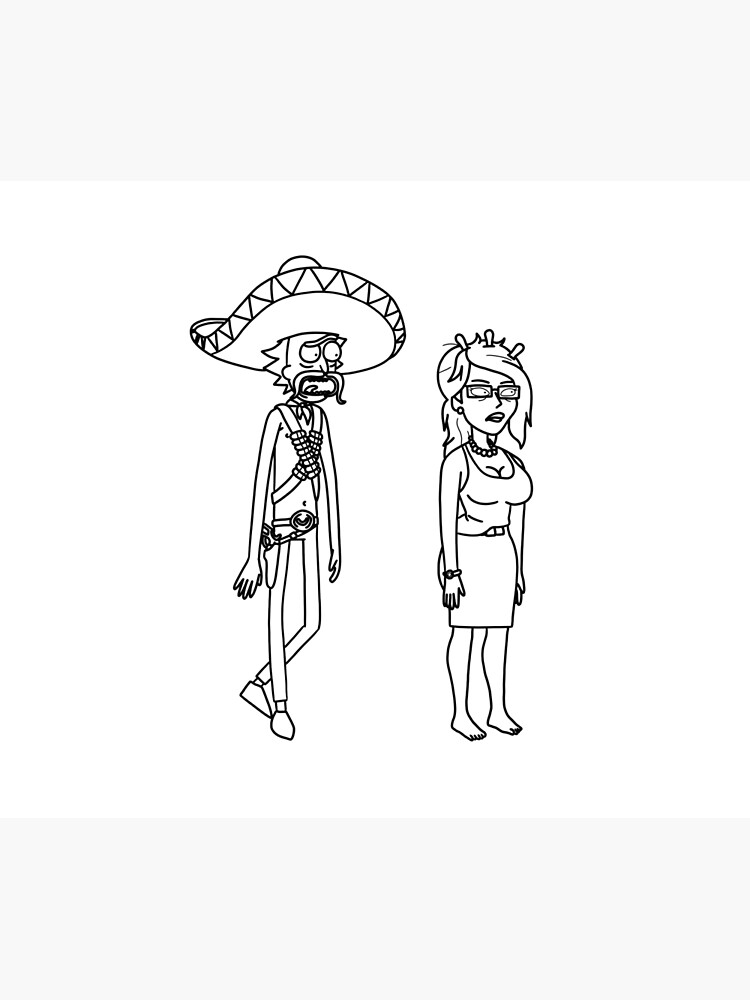 Rick Sanchez Sombrero Mustache and Unity | Rick and Morty character by newarts
