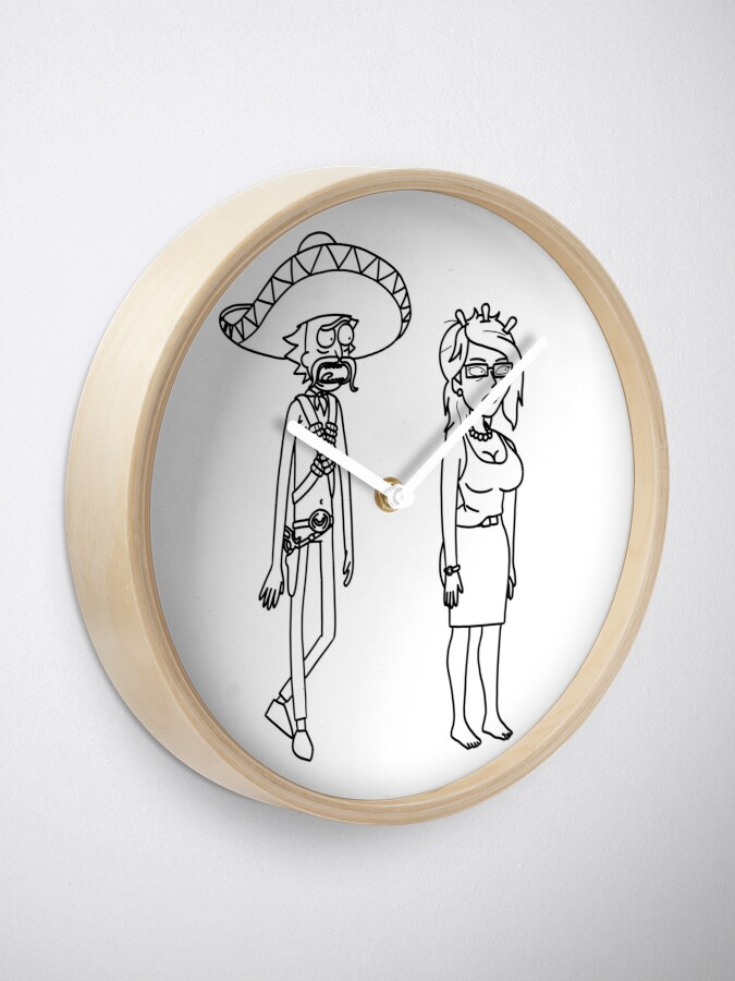 Alternate view of Rick Sanchez Sombrero Mustache and Unity | Rick and Morty character Clock