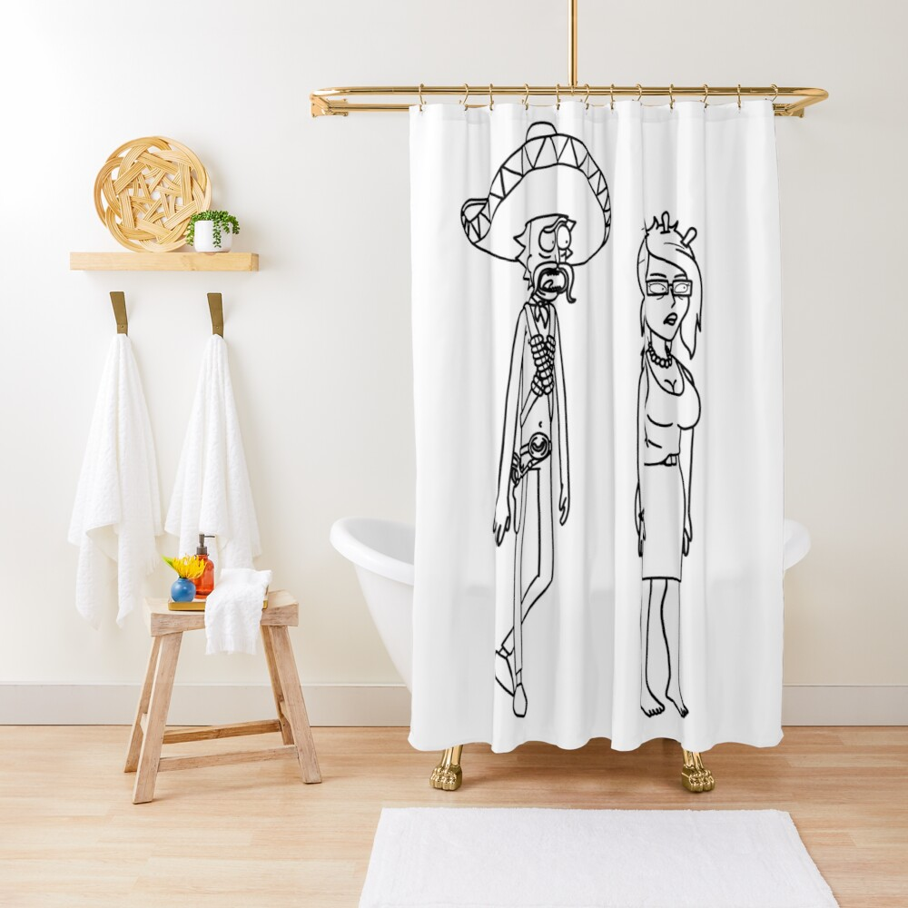 Rick Sanchez Sombrero Mustache and Unity | Rick and Morty character Shower Curtain