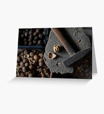 cracked walnut and hammer Greeting Card