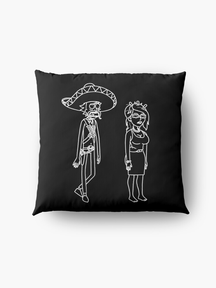 Alternate view of Rick Sanchez Sombrero Mustache and Unity | Rick and Morty character Floor Pillow