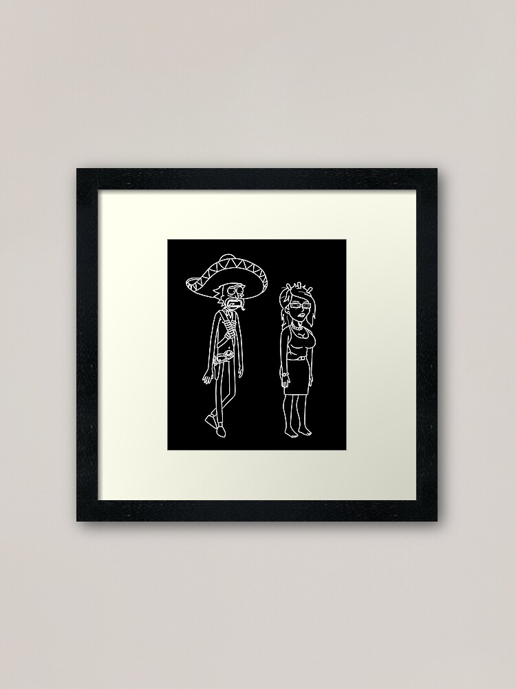 Alternate view of Rick Sanchez Sombrero Mustache and Unity   Rick and Morty character Framed Art Print