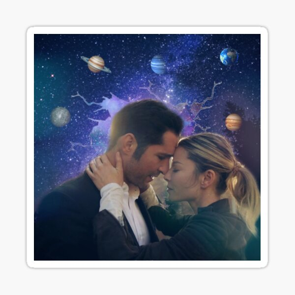 Space Chloe and Lucifer Sticker