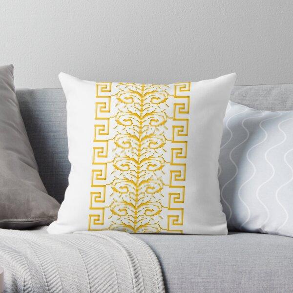 Baroque 1 Gold White Throw Pillow