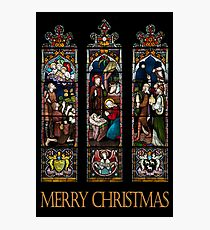 Merry Christmas - Stained Glass Window Photographic Print