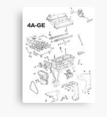 4A-GE Engine Diagram (Bright Colors) Metal Print
