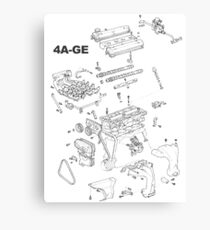4A-GE Engine Diagram (Bright Colors) Canvas Print