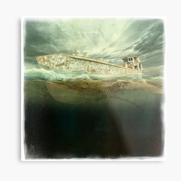 Whale boat | Half Submerged Collection Metal Print