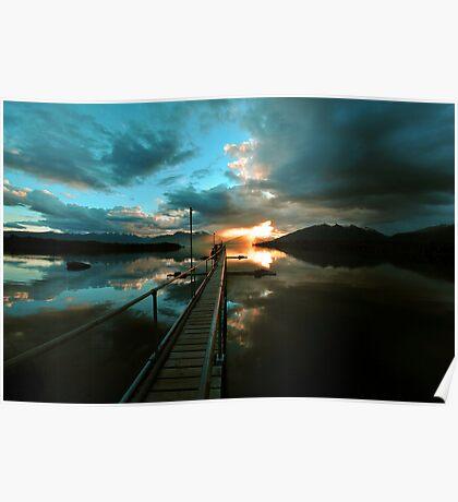 Sunset At Lake Te Anau. South Island, New Zealand. (2) Poster