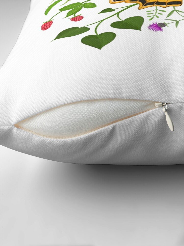 Alternate view of Butterfly with berries Throw Pillow