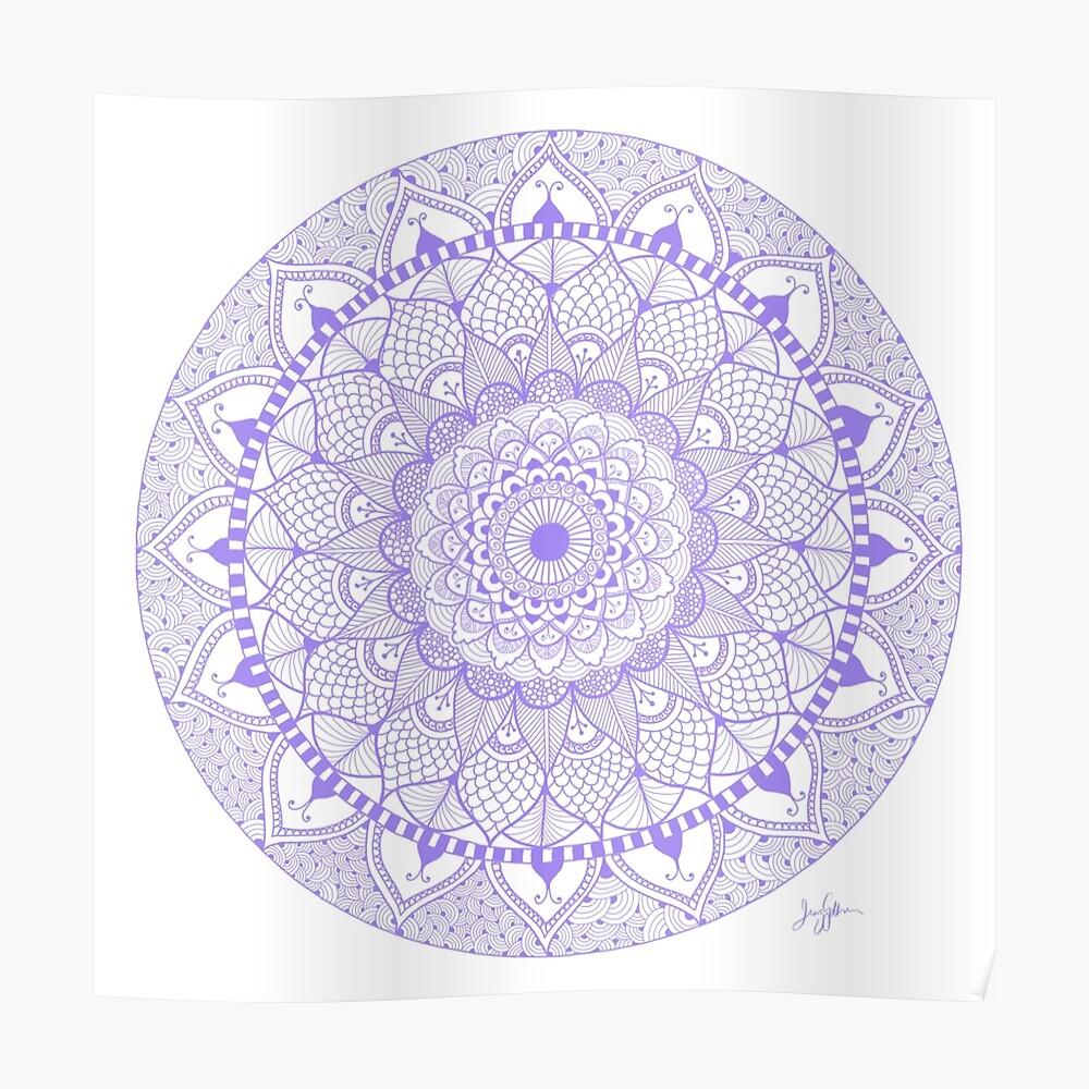 Lila Boho Zentangle Mandala Poster