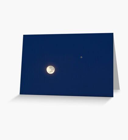 Moon And Jupiter Greeting Card