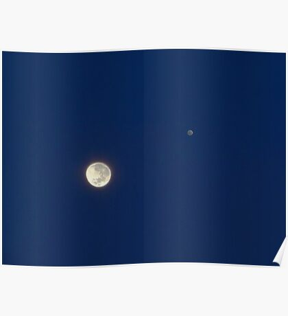 Moon And Jupiter Poster
