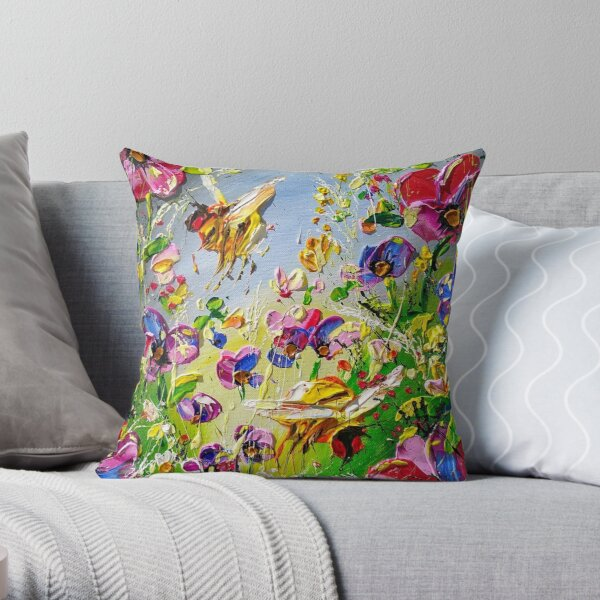 Abstract bees bright and colorful Throw Pillow