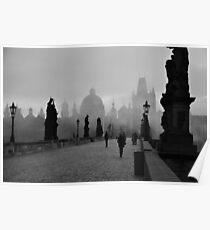 Fog on Charles Bridge, Prague Poster