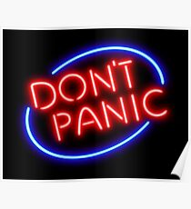 """Hitchhiker's Guide - """"Don't Panic"""" Neon Sign Poster"""