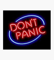 """Hitchhiker's Guide - """"Don't Panic"""" Neon Sign Photographic Print"""