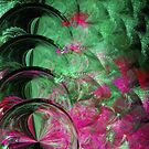 Pink and Green Snake Skin Abstract by pjwuebker