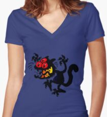 Cartoon Scaredy Cat T-Shirts by Cheerful Madness!! Women's Fitted V-Neck T-Shirt