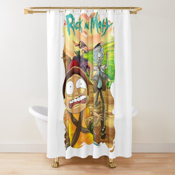 Escape From The Pursuit Robot in 35-C Dimension Shower Curtain